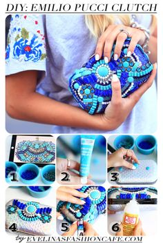 How To Make DIY Emilio Pucci Clutch What a colorful clutch! This is an easy DIY project that you can do it yourself. Diy Clutch, Beaded Clutch, Clutch Purse, Handmade Clutch, Diy Projects To Try, Sewing Projects, Craft Projects, Craft Ideas, Fun Ideas