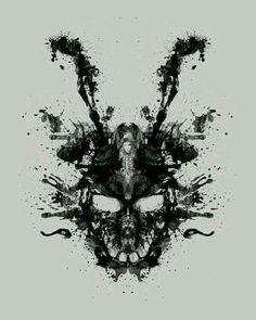 'Imaginary Inkblot- Donnie Darko Shirt' Photographic Print by spacemonkeydr Donnie Darko Rabbit, Donnie Darko Frank, Donnie Darko Tattoo, Katharine Ross, Film Pictures, Moving Pictures, Arte Horror, Horror Art, Horror Movies