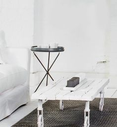 White Wash Painted Wheel Coffee Table