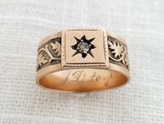 Antique Victorian 1880s 14K Rosy Gold and Diamond Starburst Etched Ivy Eternity Wedding Band - Wedding / Engagement