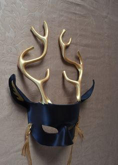 Deer / Stag Leather Mask Black and Gold King of by MythicMasks