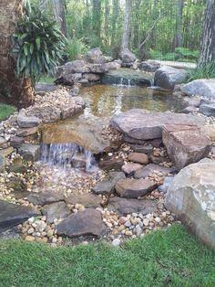 Modern Diy Garden Pond Waterfall Ideas For Backyard 07 Backyard Water Feature, Ponds Backyard, Backyard Ideas, Koi Ponds, Garden Ponds, Backyard Stream, Concrete Backyard, Terraced Backyard, Backyard Designs