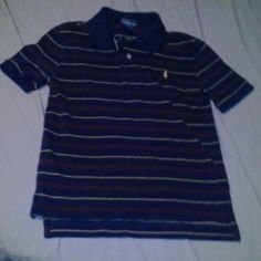 NWOT Polo navy with red & yellow stipes polo shirt New without tags Polo  100 percent cotton Polo by Ralph Lauren Tops