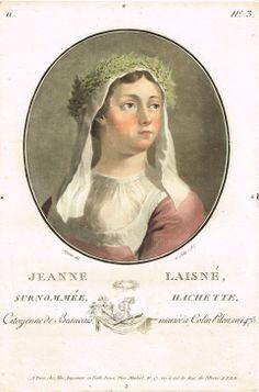 Jeanne Laisné, surnommé Hachette, Citoyenne de Beauvais, marié à Colin Pilon en 1475 - peint et gravé par Sergent en 1787 - série N n°3 - MAS Estampes Anciennes - Antique Prints