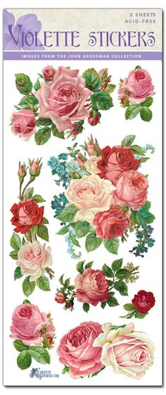 Red Roses Victorian Floral 2 Sheets of Stickers - Roses And Teacups Vintage Labels, Vintage Diy, Vintage Cards, Vintage Paper, Vintage Images, Vintage Stuff, Decoupage Furniture, Decoupage Paper, Recycled Furniture