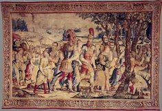Bottega di Willem DermoyenMosè: Il rapimento delle donne e dei bambini di Madianite Arazzo, 352 x 514 cm Châteaudun, château de Châteaudun, Centre des Monuments Nationaux