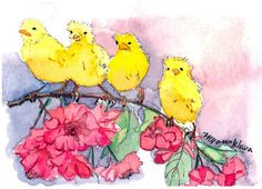 ACEO Limited Edition Our First Outing in watercolor by annalee377