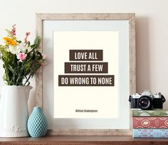 Shakespeare quote, typography print, literary quote, trust a few, quotes, typographic print, inspirational quote, quotes, print