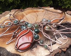 Wire wrapped bracelet with natural gemstone beadsWire wrapped