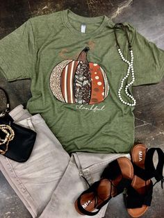 d4b1c0a1 Patterned Pumpkin Thankful Tee. Pumpkin Patch OutfitGreen TeeOlive ...