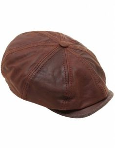 e092509bfa11a8 Stetson Hats Burney Leather Newsboy Cap - Brown | NEWSBOY HAT ...