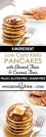 These keto low carb pancakes with almond flour and coconut flour are so easy, fluffy, and delicious. Paleo and gluten-free, too!