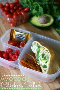 50 healthy lunch ideas - FamilyFreshMeals.com - Avocado Chicken Salad Packed for lunch