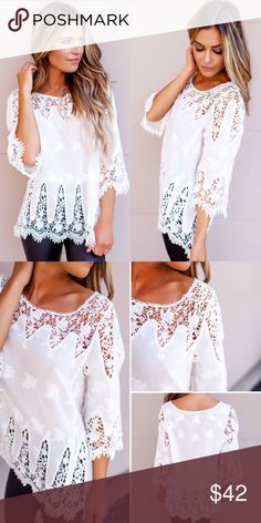 ❣NEW IN❣ White Crochet Detailed Loose Fall Top Brand new! Awesome essential white crochet top! Perfect with denim Skinnies or leather pants! Sizes S M L. Ships 9/30. Tops Blouses