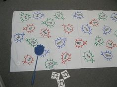"One student reads out a sight word while other students ""swat at"" the sight word bugs on the activity mat. Make one for your students with a plastic white tablecloth or roll of white paper and make sight word recognition fun. This is also a great way to groom mini bug-swatters to take care of bugs IRL."