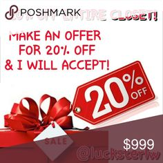 20% OFF ENTIRE CLOSET! LIMITED TIME ONLY! MAKE AN OFFER FOR 20% OFF ON ANY ITEM AND I WILL ACCEPT! DON'T MISS OUT ON THIS SALE! NO EXCEPTIONS & REMEMBER THE HOLIDAYS ARE APPROACHING QUICKLY! Nolan Miller  Jewelry