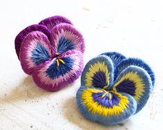 Felt embroidery pansy フェルト刺繍のパンジー by PieniSieni