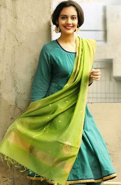 Cotton# Mangalgiri Anarkali Gota Trim Long #Kurta paired up with a Silk Cotton…