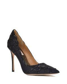 Black Rouge Pointed Toe Embellished Evening Shoe