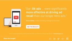 Our :06 ADS were significantly MORE EFFECTIVE AT DRIVING AD RECALL than our longer hero ads. Think With Google, Digital Trends, Research, Media Marketing, Insight, Infographic, Management, Hero, Ads
