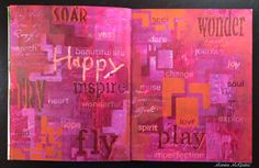 Mixed Media Art Journal pages by Maria McGuire using StencilGirl stencils.