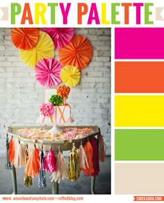 Party Palette: Neon and neutral #colorpalette