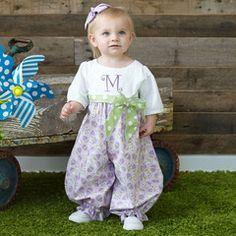 Baby Girl White Seersucker Lavender Eggs Romper