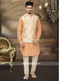Orange and Cream Color Nehru Jacket