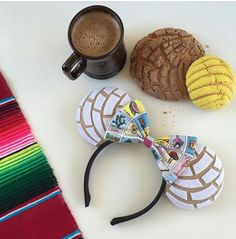 White Concha Ears / Pan Dulce Mouse Ears / Mexican Pan Dulce Ears / Loteria White Concha Ears / Pan Dulce Mouse Ears / Mexican by RatHouseEars Diy Disney Ears, Disney Mickey Ears, Mickey Mouse Ears, Micky Ears, Mexican Crafts, Mexican Stuff, Disney Day, Disney Food, Fiesta Theme Party