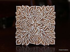 Hand Carved Indian Wood Textile Stamp Block- Square Floral Motif -- Commission the reverse?