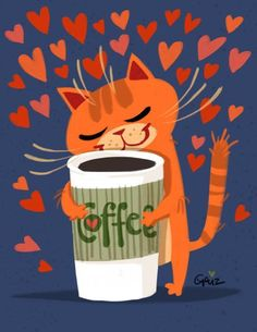 Even a cat loves coffee so much. LOL #cat #love #coffee