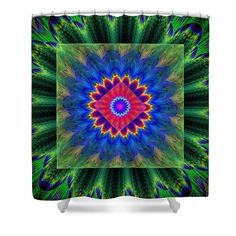 """Shower curtain with green, red and blue psychedelic vortex design. Shower curtains are made from 100% polyester fabric and include 12 holes at the top of curtain for simple hanging from your own rings. Shower curtains are 71"""" wide by 74"""" tall....."""