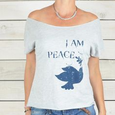 I Am PEACE w/ Dove - Zen Wide Neck Tee Shirt – SuperLoveTees | Graphic Tees Inspired By Love