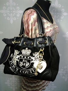 Juicy Couture black large daydreamer velour shoulder bag. Super cute I love the gold tag charms. www.myinstyleboutique.com