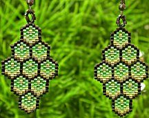 Instant Download! Green Honeycomb Earrings Pattern