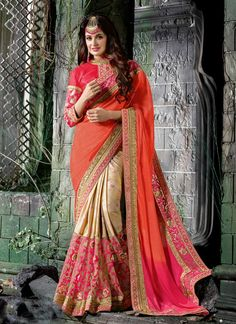Peach,Pink #Chiffon,#Chinon Half N #Half #Saree #nikvik  #usa #designer #australia #canada #freeshipping #sari