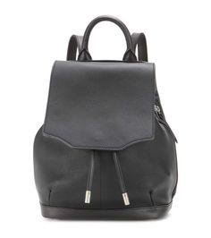 Mini Pilot black leather backpack