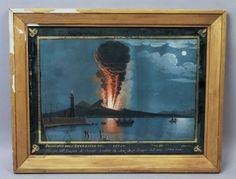 Superb-19c-Guilloche-Painting-Vesuvius-Eruption-Naples-1794-Original-Frame