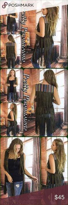 """NWT Olive Faux Suede Fringe & Embroidered Vest NWT Black Faux Suede Fringe & Embroidered Vest  Available in S, M, L Measurements taken from a small  Length: 37"""" Bust: 36"""" Waist: 36""""  Features  • all over faux suede fringe • multicolored embroidered accent at upper back • sleeveless  • relaxed, easy fit/very accommodating  • comfortable material   * Also available in Black in a separate listing *  Bundle discounts available  No pp or trades  Item # 1/109190450BSV suede leather fringe Pretty…"""