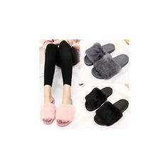 Furry Slide Sandals ($23) ❤ liked on Polyvore featuring shoes, sandals, footware, small heel shoes, rubber sandals, grey shoes, grey low heel shoes and short heel shoes