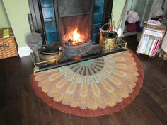 Vintage handmade semi circular hearth fireside rug, Art deco in style.
