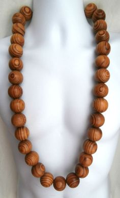 ETHNIC INSPIRED TRIBAL MENS CHUNKY 28MM BROWN BURLY WOOD BEADS 35 LONG NECKLACE. African influenced, tribal wear, mens ethnic inspired fashion.