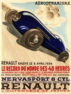 Renault enlève le 5 avril 1934 le record du Monde des 48 heures avec une Nervasport 8 cylindres. Renault l'Automobile de France.