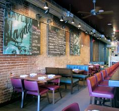 New in Shaw is Thally, a 70-seat restaurant with a focus on modern American cuisine. Design details include vintage barn-door hardware, blackboards, wood and steel tables, exposed brick, antique pipe fittings, and custom wall graphics.