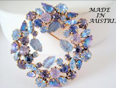 Amethyst  Rhinestone Brooch - Signed Austria - Blue Highlights - Collectible Pin  VintagObsessions p