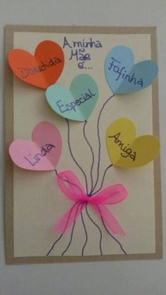 10 DIYs para o Dia das Mães - The 100 best photographs ever taken without photoshop Kids Crafts, Diy And Crafts, Paper Crafts, Mothers Day Crafts, Happy Mothers Day, Valentine Bulletin Boards, Valentines Art, Mom Day, Diy Cards