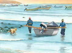 Steve Santmyer - Castro's Fish Camp, Baja - California art - fine art print for sale, giclee watercolor print - Californiawatercolor.com