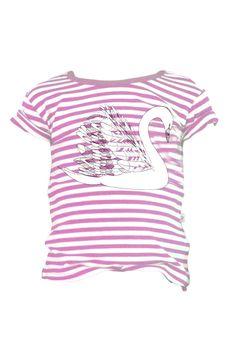 Bamboo Tee, Pink Stripe Swan