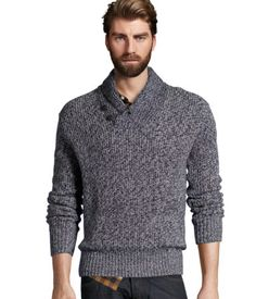 Chunky-knit sweater with a shawl collar and buttons at neckline.