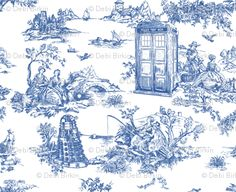 Dr Who Toile de Jouy blue.  I would make this into a fancy table runner for my dinning room!! :)